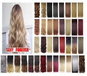 3/4 Full Head 3-5 . 60cm /70cm Straight Curly Wavy 1 Piece 5 clips Clip in/on Synthetic Hair Extensions Hairpiece for Women 41 colour