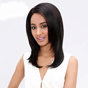 Hmy Medium Length Natural Black Colour Costume Wigs that Look Real Synthetic Hair Wigs For Black Women