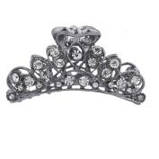 Lux Accessories Hematite Crystal Rhinestone Bling Filigree Metal Hair Claw Clip