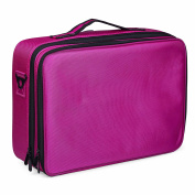 Cosmetic Bag Portable Clothing 3 Layer Multifunction Makeup Bag Rose red Artist Beauty Cosmetic Kit Backpack Makeup Box