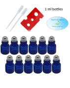 Essential Oil Cobalt Blue Glass 1ml Roller Bottles with Stainless Steel Balls (Pack of 12), Pipettes, and Essential Oil Bottle Opener