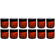 (Set of 12) Amber 120ml Plastic Straight Sided Jars with Smooth Black Lids