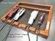 Salon Barber CLIPPER Table Top Tray w/ 5 Notches In (MOCHA) + Free YS Park Chignon Clips