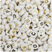 BEADTIN White Opaque w/Gold Letters 10mm Disc Coin Alphabet Beads