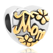 CandyCharms Heart Love Mom Golden Flower Charm Beads For Bracelets