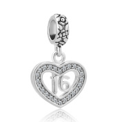"CandyCharms Heart ""Number 16 Sixteen 16th Birthday Sweet Sixteen"" Charm Bead For Bracelets"