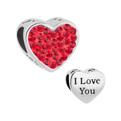 CandyCharms I Love You July Birthstone Red Crystal Heart Love Beads For Charm Bracelets