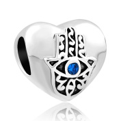 CandyCharms Heart Evil Eye on Hand Of Hamsa Fatima Religious Beads For Bracelets