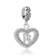CandyCharms Happy Birthday of 18 Heart Love Dangle Beads For Bracelets