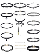 Wey's Choker Necklaces Set, Black, 14 Pieces, 3 Necklace Extenders Included