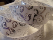 White With Silver Swirl Printed Grosgrain Ribbon - 2.2cm Wide - 5 Yards - Hair Bows & Crafts