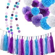 Fonder Mols 34 White Purple Lavender Turquoise Tissue Paper Pom Poms Flowers Tissue Tassel Garland Polka Dot Paper Garland Kit for Bridal Shower Snow or Sea Theme Mermaid Wedding Ball Party Decoration