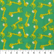 Comfy Flannel Giraffe Toss on Green Fabric Sold by the Yard