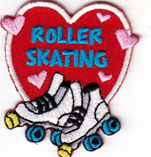 """ROLLER SKATING"" HEART - IRON ON EMBROIDERED PATCH - Skates, Sports, Words"