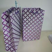 Set of 3 Assorted Colour Diamond Pattern Glitter Gift Wrap Medium Bags in Black, Silver, Purple