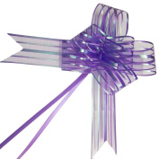 PETMALL 10pcs Organza Pull String Bows Wrap Ribbon for Wedding Party Home Decoration Purple OFFICE-783