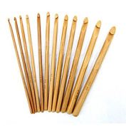12 Sizes Natural Wood Bamboo Crochet Hooks Size 3mm-10mm