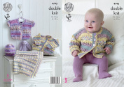King Cole Baby Double Knitting Pattern Lacy Long or Short Sleeve Cardigans Hat & Blanket