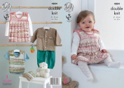 King Cole Baby Double Knitting Pattern Jacket Pinafore Dress Tank Top & Hat