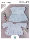 Double Knit Crochet Pattern for Baby Lace Detail Dress & Long Sleeve Angel Top