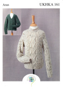 Aran Knitting Pattern for Childrens High or V Neck Cable Detail Sweaters