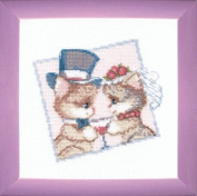 Embroidery Counted cross stitch kit Charivna mit #A-158 Fiance and bride Cats Animals 18x18 cm / 7.09x7.09 in