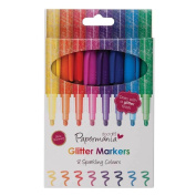 8 x Glitter Sparkle Bullet Tip Marker Pens Bright Rainbow Colours