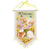 "Nantucket Home ""Welcome"" Easter Bunny Pom Pom Banner Coated Canvas Banner, 43cm"