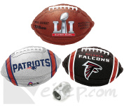 Patriots Falcons Super Bowl Face Off Mylar 4pc Balloon Pack, Team Colours