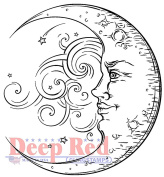 Deep Red Rubber Cling Stamp Crescent Man in the Moon Celestial Wind