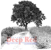Deep Red Rubber Cling Stamp Country Road Path with Tree Scene