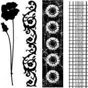 Garden Flower Border Trims Stampington And Co Wood Mount Rubber Stamp cube