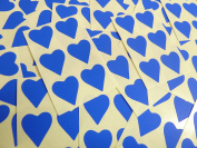 22x20mm Royal Blue Heart Shaped Labels, 90 Self-Adhesive Colour Code Stickers, Sticky Hearts for Craft and Decoration