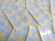 22x20mm Pale Sky Blue Heart Shaped Labels, 90 Self-Adhesive Colour Code Stickers, Sticky Hearts for Craft and Decoration
