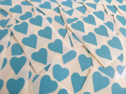 22x20mm Turquoise Heart Shaped Labels, 90 Self-Adhesive Colour Code Stickers, Sticky Hearts for Craft and Decoration
