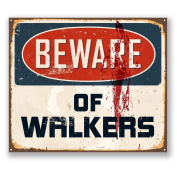 2 x 15cm/150mm Beware of Walkers Sticker Decal Fun Sign Zombie Walking Dead #5732