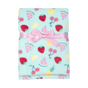 Baby Gear Plush Velboa Ultra Soft Baby Girls Blanket 30 x 40, Fruit