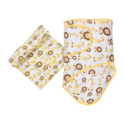 MiracleWare Muslin Swaddle Blanket and Miracle Blanket Set, Giraffes and Lions