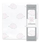 SwaddleDesigns Muslin Swaddle Blanket, Pink Hedgehog, Pink