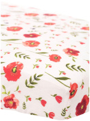 Little Unicorn Cotton Muslin Fitted Sheet - Summer Poppy, Red, Green, Black