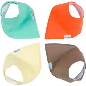 Baby Bandana Drool Bibs with Snaps, Solid Colours Unisex 4 Pack Gift Set by KiddieBest