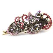 Beautiful Bead Rhinestones Vintage Duckbill Clip Phoenix Hairpin Hair Beauty Tools Pink