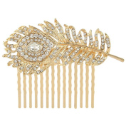 EVER FAITH Austrian Crystal Wedding Peacock Feather Bridal Hair Side Comb