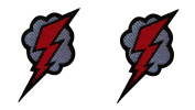 2 pieces LIGHTNING BOLT Iron On Patch Fabric Motif Applique Decal 2.8 x 1.8 inches