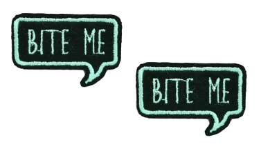 2 small pieces BITE ME Iron On Patch Fabric Applique Slogan Motif Words Wording Decal 1.8 x 1.2 inches (4.5 x 3 cm)