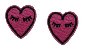 2 small pieces PINK HEART Applique Embroidered Motif Fabric Love Valentine Decal 1.5 x 0.9 inches