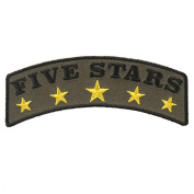 FIVE STARS, High Thread Embroidered Iron-On / Saw-On, Heat Sealed Backing Rayon PATCH - 10cm x 5.1cm