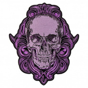 GRAPHIC SKULL, High Thread Embroidered Iron-On / Saw-On, Heat Sealed Backing Rayon PATCH - 10cm x 13cm
