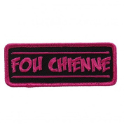 FOU CHIENNE, High Thread Embroidered Iron-On / Saw-On, Heat Sealed Backing Rayon PATCH - 10cm x 2.5cm