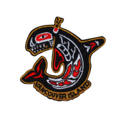 "Tribal Whale ""Vancouver Island"" Souvenir Patch Canada Tourist Iron-On Applique"